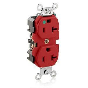 Leviton 8300-R Hospital Grade Duplex Receptacle, 20A, 125V, 5-20R, Red