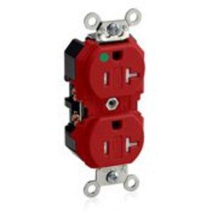 Leviton 8300-SGR Hospital Grade Duplex Receptacle, Tamperproof, 20A, 125V, Red