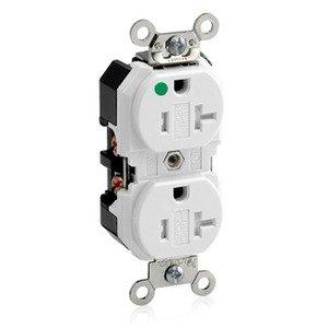 Leviton 8300-SGW 20 Amp, 125 Volt, Wide Body NEMA 5-20R, White