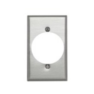 "Leviton 83028 1-Gang Single Rcpt Wallplate, (1) 2.150"" Hole, Aluminum"