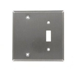 Leviton 84006-40 Comb. Wallplate, 2-Gang, Toggle/Blank, Stainless Steel