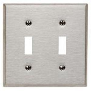 Leviton 84009 Toggle Switch Wallplate, 2-Gang, 430 Stainless Steel