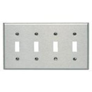 Leviton 84012-40 Toggle Switch Wallplate, 4-Gang, 302 Stainless Steel