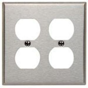 Leviton 84016 Duplex Receptacle Wallplate, 2-Gang, Stainless Steel