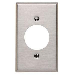 "Leviton 84020-40 1-Gang Single Rcpt Wallplate, (1) 1.600"" Hole, 302 S.Steel"