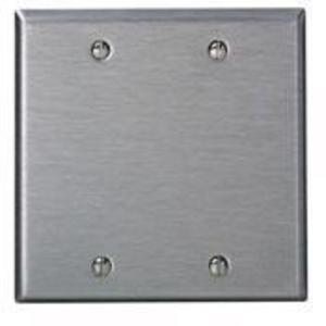 Leviton 84025-40 Blank Wallplate, 2-Gang, 302 Stainless Steel, Standard, Box Mnt