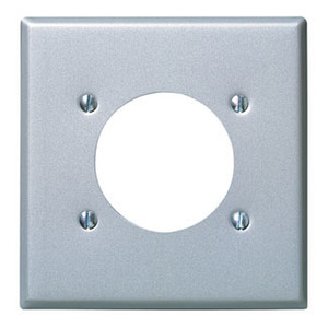 "Leviton 84026 2-Gang Single Rcpt Wallplate, (1) 2.150"" Hole, 430 S. Steel"
