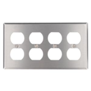 Leviton 84041-40 Duplex Receptacle Wallplate, 4-Gang, 302 Stainless Steel