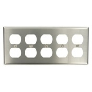 Leviton 84055-40 Duplex Receptacle Wallplate, 5-Gang, 302 Stainless Steel