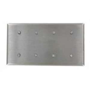 Leviton 84057-40 Blank Wallplate, 4-Gang, 302 Stainless Steel, Standard, Strap Mnt