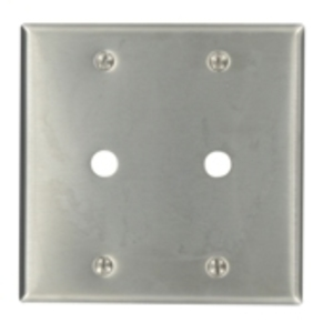 """Leviton 84062-40 Phone/Cable Wallplate, 2-Gang, .406"""" Hole, 302 SS"""
