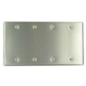 Leviton 84064-40 Blank Wallplate, 4-Gang, 302 Stainless Steel, Standard, Box Mnt