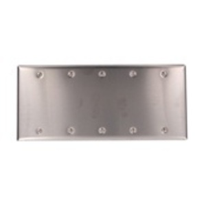 Leviton 84065-40 Blank Wallplate, 5-Gang, 302 Stainless Steel, Standard, Box Mnt