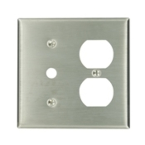 Leviton 84078-40 Comb. Wallplate, 2-Gang, Phone/Duplex, 302 Stainless Steel