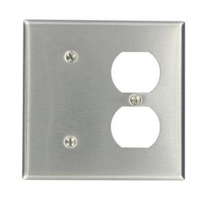 Leviton 84087-40 Comb. Wallplate, 2-Gang, Blank/Duplex, Non-Metallic Stainless Steel