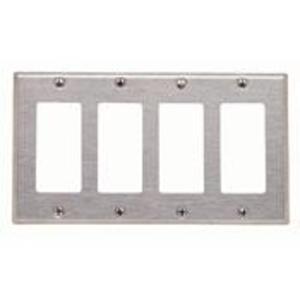 Leviton 84412-40 Decora Wallplate, 4-Gang, Type 302 Stainless Steel
