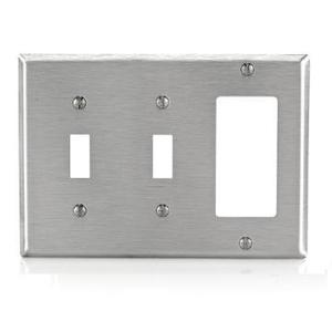 Leviton 84421-40 Comb. Wallplate, 3-Gang, (2) Toggle, (1) Decora, Stainless Steel