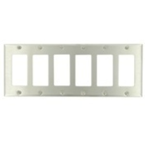 Leviton 84436-40 Decora Wallplate, 6-Gang, Type 302 Stainless Steel