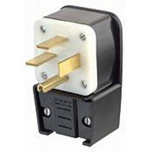 Leviton 8452-P 50 Amp Angle Plug, 250V 3PH, 15-50P, 3P4W, Black