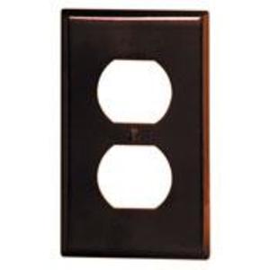 Leviton 85003 Duplex Receptacle Wallplate, 1-Gang, Thermoset, Brown
