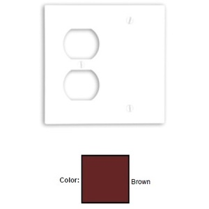 Leviton 85008 Combo Wallplate, 2-Gang, Blank/Duplex, Thermoset, Brown, Standard