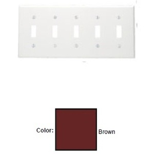 Leviton 85023 Toggle Switch Wallplate, 5-Gang, Thermoset, Brown