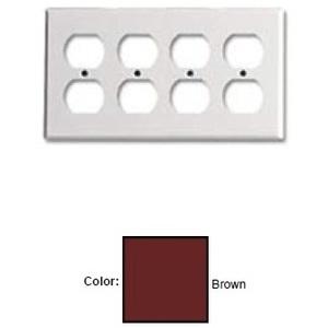 Leviton 85041 Duplex Receptacle Wallplate, 4-Gang, Thermoset, Brown