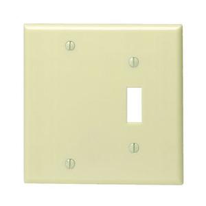 Leviton 86006 Combo Wallplate, 2-Gang, Toggle/Blank, Thermoset, Ivory, Standard