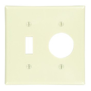 Leviton 86007 Comb. Wallplate, 2-Gang, Toggle/Single Rcpt., Thermoset, Ivory