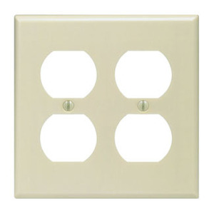 Leviton 86016 Duplex Receptacle Wallplate, 2-Gang, Thermoset, Ivory