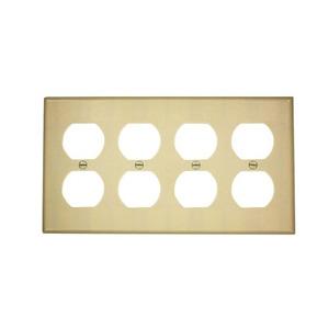 Leviton 86041 Duplex Receptacle Wallplate, 4-Gang, Thermoset, Ivory