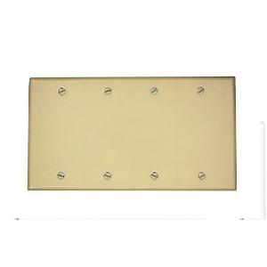 Leviton 86064 Blank Wallplate, 4-Gang, Thermoset, Ivory, Standard, Box Mount