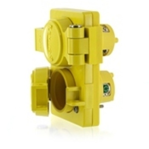 Leviton 87W07-D 20 Amp, 250 Volt, NEMA L2-20, 2P, 2W, Locking Duplex Outlet, Industrial Grade, Non-Grounding, Wetguard - YELLOW