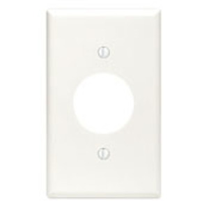 "Leviton 88004 1-Gang Single Rcpt Wallplate, (1) 1.406"" Hole, WH Thermoset"