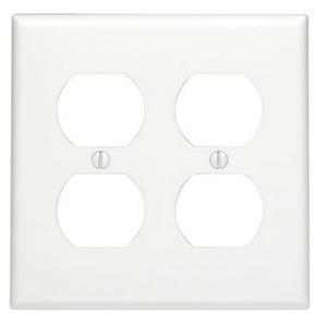 Leviton 88016 Duplex Receptacle Wallplate, 2-Gang, Thermoset, White