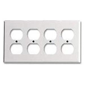 Leviton 88041 Duplex Receptacle Wallplate, 4-Gang, Thermoset, White