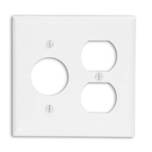 Leviton 88046 Comb. Wallplate, 2-Gang, Single Receptacle/Duplex, Metal, White