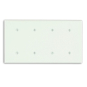 Leviton 88057 Blank Wallplate, 4-Gang, Thermoset, White, Standard, Strap Mount