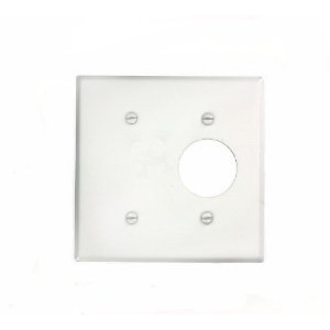 "Leviton 88085 Comb. Wallplate, 2-Gang, Single Rcpt. - 1.406"" Hole, Metal, White"