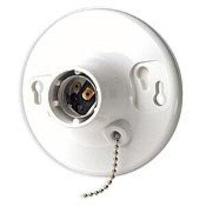 Leviton 8827-CW1 Incandescent Lampholder, Medium Base, Pull Chain, White