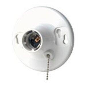 Leviton 8827-CW4 Incandescent Lampholder, Medium Base, Pull Chain, White