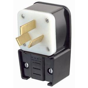 Leviton 9450-P 50 Amp Angle Plug, 125/250V, 10-50P, 3P3W, Black