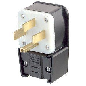 Leviton 9452-P 50 Amp Angle Plug, 125/250V, 14-50P, 3P4W, Black