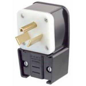 Leviton 9750-P 50 Amp Angle Plug, 277V, 7-50P, 2P3W, Black