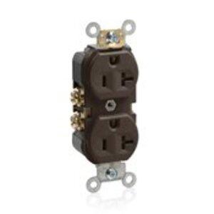Leviton BR20 20A Duplex Receptacle, 125V, 5-20R, Brown, Back/Side Wired, Spec Grade