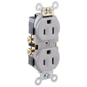 Leviton CR15-GY 15 Amp Duplex Receptacle, 125V, 5-15R, Gray, Comm Grade, Side Wire