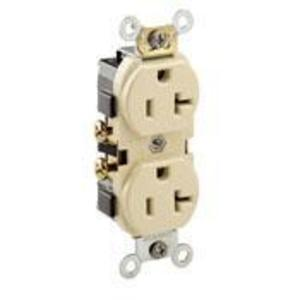 Leviton CR20-I 20A Duplex Receptacle, 125V, 5-20R, Ivory, Side Wired, Spec Grade