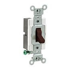 Leviton CS115-2 1-Pole Switch, 15 Amp, 120/27V, Brown, Side Wired, Commercial