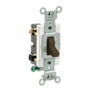 Leviton CS220-2 Double Pole Switch, 20 Amp, 120/27V, Brown, Side Wired, Commercial