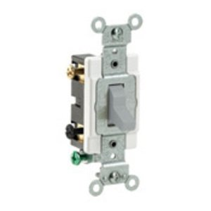Leviton CS220-2GY Double Pole Switch, 20 Amp, 120/27V, Gray, Side Wired, Commercial